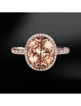 Morganite And Diamond Gold Ring by Marcelloricciolondon