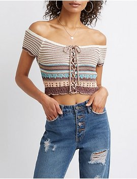 Striped Macrame Crop Top by Charlotte Russe