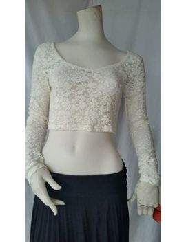 New Tag Mossimo Juniors M Ivory Floral Lace Long Sleeve Ballerina Crop Top by Mossimo