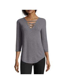 Worthington 3/4 Sleeve V Neck Knit Blouse by Worthington