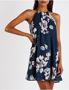 Floral Pleated Shift Dress by Charlotte Russe