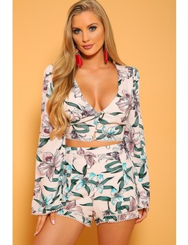 Sexy Pink Floral Long Sleeves Flared V Cut Two Piece Outfit by Ami Clubwear