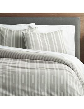 Rhesi Grey And White Duvet Covers And Pillow Shams by Crate&Barrel