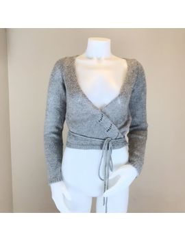 Sisley Womens Size Medium Mohair Blend Wrap Sweater Cropped Tie Waist Gray by Sisley