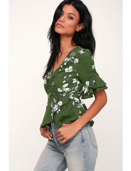 Dramatic Flair Green And White Floral Print Peplum Top by Lulu's