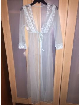 Vtg Jc Penney Blue Crystal Lace Nylon Peignoir Robe Sz S Nightgown Negligee Coat by Jc Penney