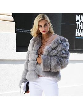 Vintage Fluffy Faux Fur Coat Women Short Furry Fake Fur Winter Outerwear Pink Co by Bonanza