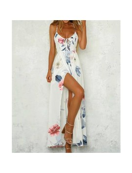 Boho Summer Beach Printed Floral Dress Female Bandage Lace Up Backless V Neck Split Sexy Dresses Women Long Maxi Sundress Gv465 by Smile Fish