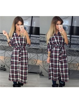 Vintage Women Plaid Dress Casual Turn Down Collar Long Sleeve Buttons Shirts Dresses Autumn Winter Long Dress Robe New Gv438 by Smile Fish