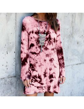 2018 Autumn Winter Digital Print Dresses Robe Long Sleeve Sexy Backless Party O Neck Mini Street Fashion Dress Gv904 by Smile Fish