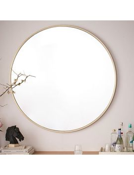 Metal Framed Oversized Round, Mirror, Brushed Nickel by West Elm