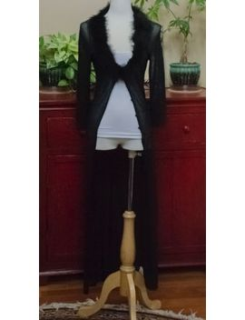 Betsey Johnson Floor Length Black Cardigan With Fur Trim Collar   Size: Medium by Betsey Johnson
