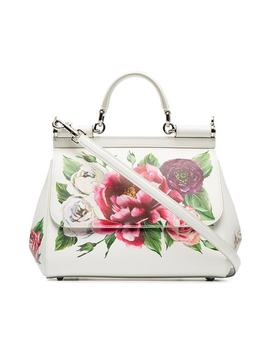 White, Red And Green Sicily Rose Print Leather Handbag by Dolce & Gabbana