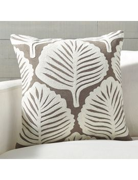"Vella Leaf Pattern Pillow 18"" by Crate&Barrel"