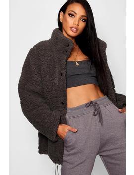 Oversized Fleece Puffer Jacket by Boohoo