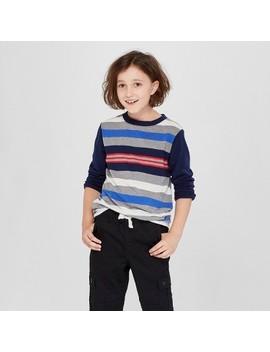 Boys' Long Sleeve Stripe T Shirt   Cat & Jack™ Navy/Gray by Shop All Cat & Jack™