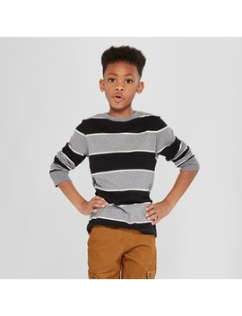 Boys' Long Sleeve Stripe T Shirt   Cat & Jack™ Gray by Shop All Cat & Jack™