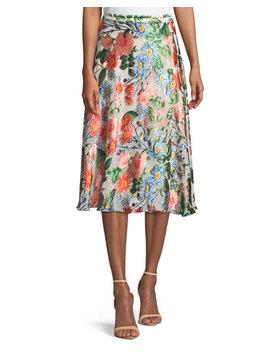 Nanette Mock Wrap Floral Print Midi Skirt by Alice + Olivia
