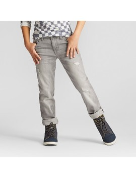 Boys' Destructed Straight Fit Denim Cat & Jack™ Gray Wash by Shop All Cat & Jack™