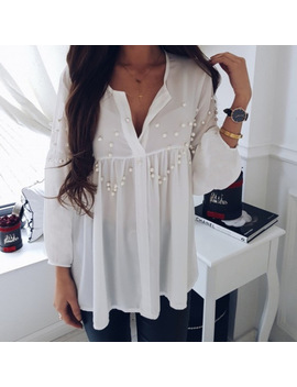 Women Shirts  2018 V Neck Summer Blouse Female Tops Three Quarter Sleeve Beading Chiffon Shirts Loose Casual White Blusas Gv611 by Smile Fish
