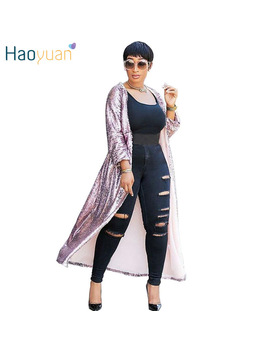 Haoyuan Red Gold Pink Cardigan Sequin Jacket Outwear Women Clothes Full Sleeve Plus Size Open Stitch Elegant Autumn Long Coats by Haoyuan