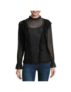 Belle + Sky Long Sleeve Mock Neck Mesh Blouse by Belle + Sky