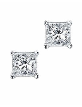 Princess Cut Square Cz Basket Set Sterling Silver Stud Earrings 7mm by Amazon
