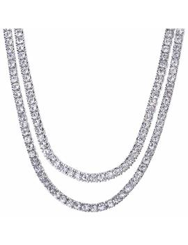 "Men's Hip Hop Lab Created Diamond 4 Mm 2 Combo Set 20"" + 22"" Tennis Chain Necklace by Amazon"