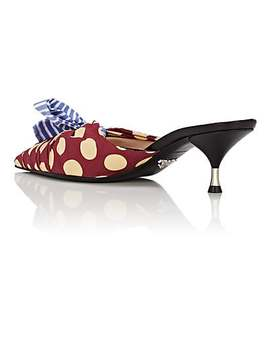 Printed Poplin & Leather Mules by Prada
