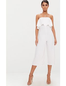 White Bardot Double Layer Culotte Jumpsuit by Prettylittlething