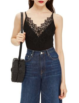 strappy-lace-trim-bodysuit by topshop