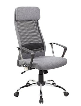 Eurosports Office Chair Es 8045 Gr High Back Mesh And Fabric Swivel Office Chair With Upholstery Headrest And Seat, Grey by Eurosports