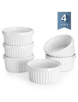 Sweese 5108 Porcelain Souffle Dishes, Ramekins   4 Ounce For  Souffle, Creme Brulee And Dipping Sauces   Set Of 6, Assorted Colors by Sweese