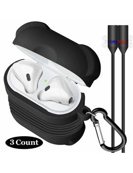 yometome-airpods-case,air-pods-accessories-cover-shockproof-silicone-protective-skin-kin-with-airpods-strap-&anti-lost-carabiner-for-apple-airpods-charging-case-black by yometome