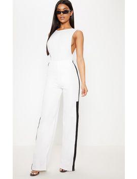Black Contrast Binding Stripe Straight Leg Trouser by Prettylittlething