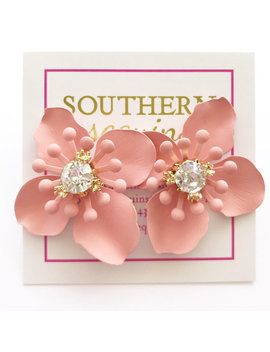 "Ceramic And Cz Flower Stud ""Sue"" Earrings by Southern Sequins"
