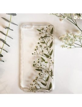 Floral Phone Case, Fern Phone Case, Baby's Breath Case, Pressed Flowers Phone Case, Green Phone Case, Custom Phone Case, Real Flower Case by Fernandfelt
