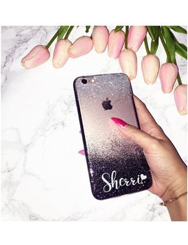 Black Silver Glitter Phone Case Huawei P20 Pro Case, Huawei P10 Lite Case, Huawei Honor Case, Huawei Mate Case, I Phone Case, Personalized by Handmadeby Tn
