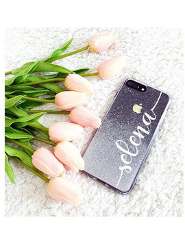 Silver Glitter Phone Case Huawei P20 Pro Case, Huawei P10 Lite Case, Huawei Honor Case, Huawei Mate Case, I Phone Case, Personalized by Handmadeby Tn