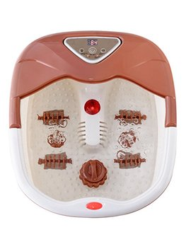 Giantex Portable Foot Spa Massager Heated Bath W/Heating Infrared Ray Lcd Display Temperature Control Bubbles Home Use Health (Brown) by Giantex