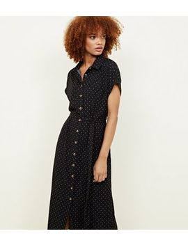 Black Spot Print Twill Midi Shirt Dress by New Look