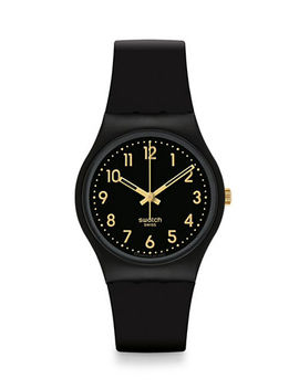 Analog Goldtone Accent Silicone Watch by Swatch