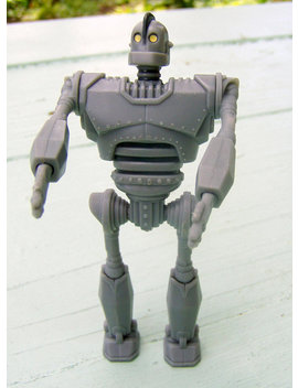 Rare Promotional Iron Giant Toy Figure, 1999 Warner Bros., Gray W/ Yellow Eyes, Pose Able by Sweet Saturday Vintage