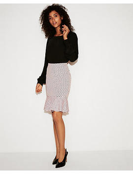 High Waisted Ruffle Hem Pencil Skirt by Express