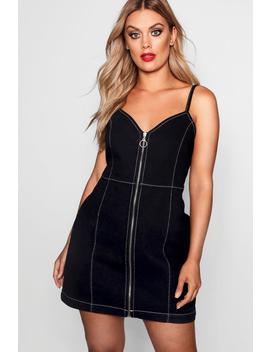 Plus Contrast Stitching Denim Dress by Boohoo