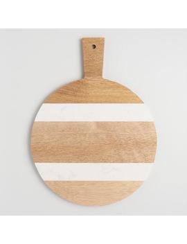 Small Round White Marble And Wood Paddle Cutting Board by World Market