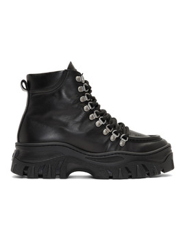 Black Chunky Lace Up Boots by Msgm