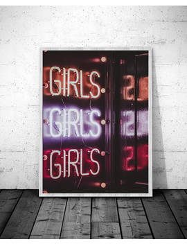 Girls Print, Neon Sign, Printable, Neon Sign Poster, Digital Print, Bathroom Decor, Neon Sign Art, Feminist Gift, Wall Art, Girl Power by Moon Design Concept