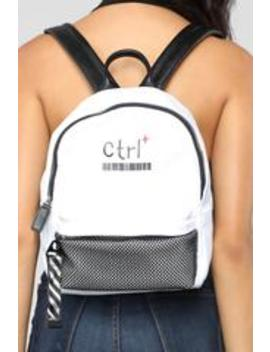 Ctrl Backpack   White by Fashion Nova