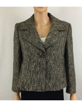 Elie Tahari M Wool Blend Brown Tweed Button Snap Crop Swing Jacket by Elie Tahari